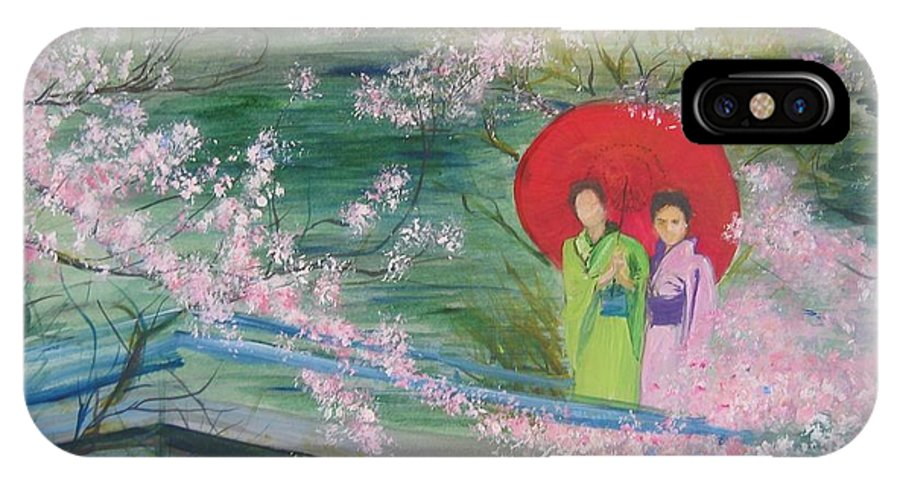 Landscape IPhone X Case featuring the painting Geishas And Cherry Blossom by Lizzy Forrester