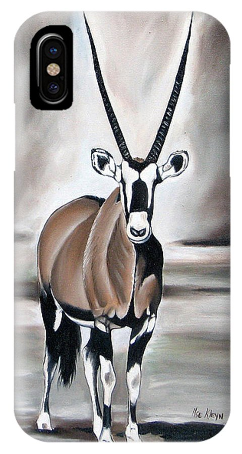 Gemsbok IPhone Case featuring the painting Gemsbok - Solitude by Ilse Kleyn