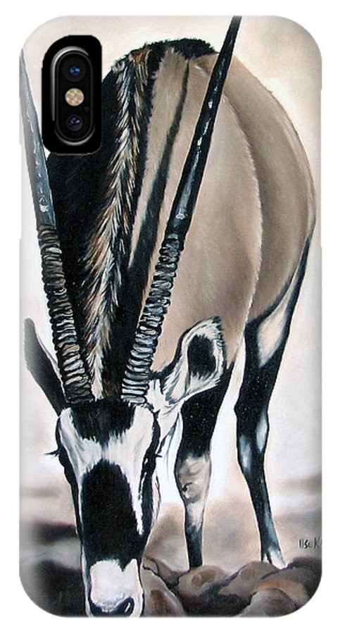 Wildlife IPhone Case featuring the painting Gemsbok - Thirst by Ilse Kleyn