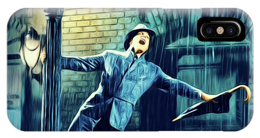 Gene IPhone X Case featuring the digital art Gene Kelly, Singing In The Rain by Mary Bassett