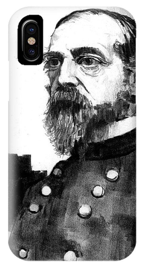 General IPhone X Case featuring the drawing General George Meade by Paul Sachtleben