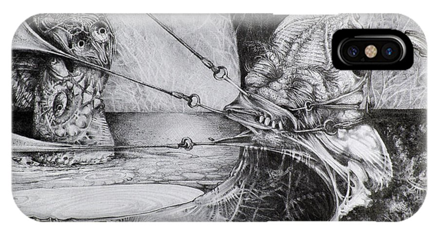 Surrealism IPhone Case featuring the drawing General Peckerwood In Purgatory by Otto Rapp