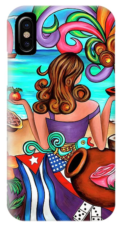 Cuba IPhone X Case featuring the painting Generation Spanglish by Annie Maxwell