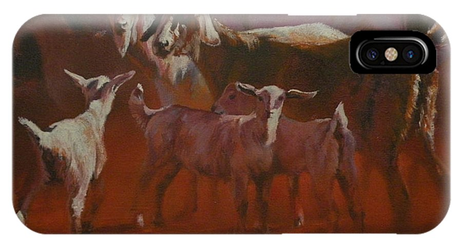 Goats IPhone X Case featuring the painting Generations by Mia DeLode