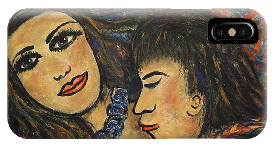 Canvas Prints IPhone X Case featuring the painting Gentle Loving Kiss by Natalie Holland