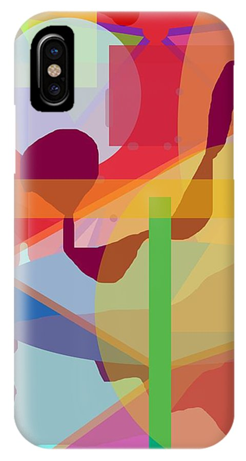 Abstract IPhone X Case featuring the painting Geo Frenzy by Pharris Art