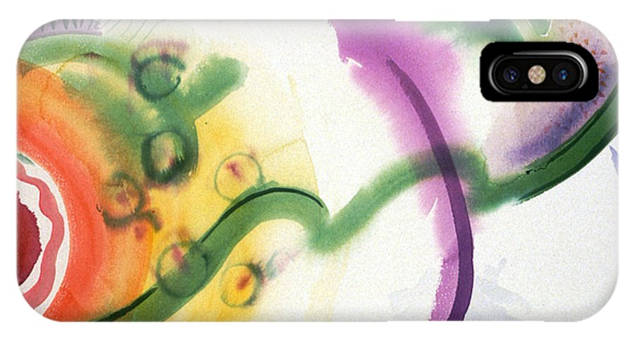 Abstract IPhone X Case featuring the painting Geomantic Blossom Ripening by Eileen Hale