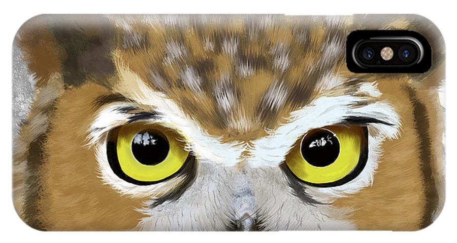 Owl IPhone X Case featuring the painting Geometric Great Horned Owl by Tara Appling