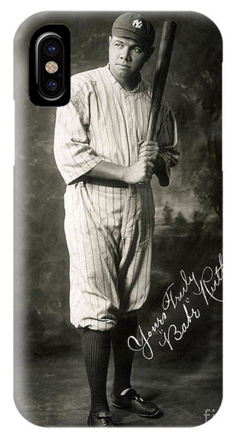 1920 IPhone X Case featuring the photograph George H. Ruth (1895-1948) by Granger