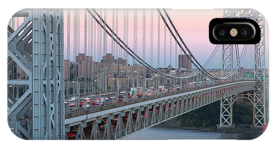 Clarence Holmes IPhone X Case featuring the photograph George Washington Bridge And Lighthouse I by Clarence Holmes