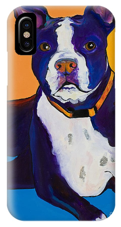 Boston Terrier IPhone X / XS Case featuring the painting Georgie by Pat Saunders-White
