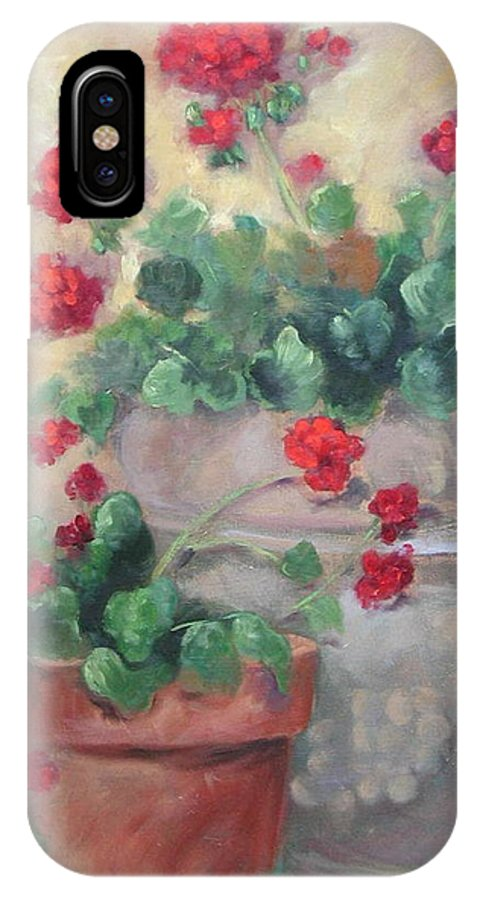 Geraniums IPhone X Case featuring the painting Geraniums by Ginger Concepcion