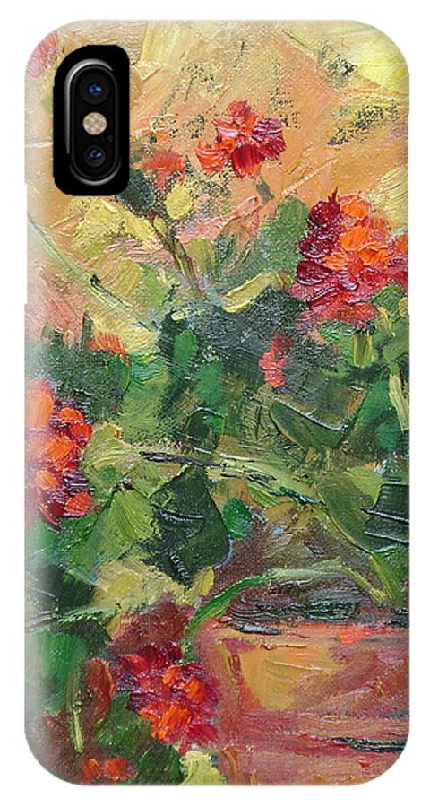 Geraniums IPhone Case featuring the painting Geraniums II by Ginger Concepcion