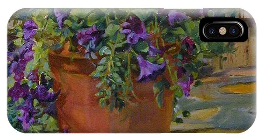 Flower IPhone X / XS Case featuring the painting Geraniums by Michael McDougall