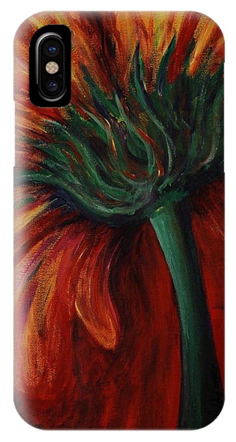 Gerbera Daisy.daisy IPhone X Case featuring the painting Gerbera Daisy by Nadine Rippelmeyer