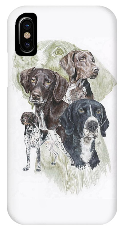 Gshp IPhone X Case featuring the mixed media German Shorted-haired Pointer Revamp by Barbara Keith
