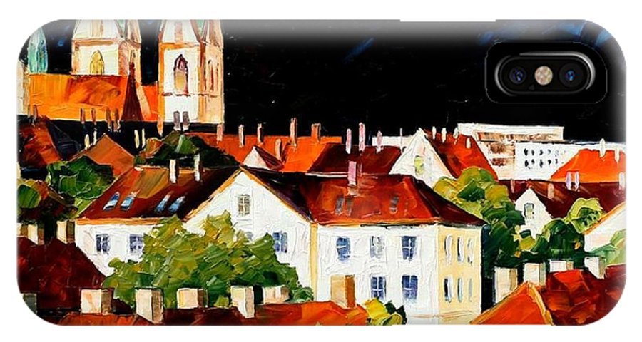 City IPhone X / XS Case featuring the painting Germany - Freiburg by Leonid Afremov