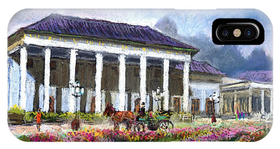 Pastel IPhone X Case featuring the painting Germany Baden-baden Kurhaus Kasino by Yuriy Shevchuk