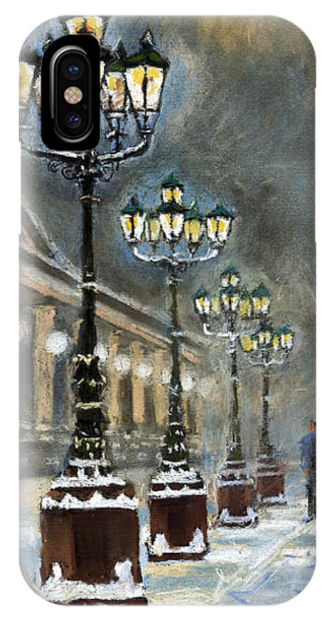 Pastel IPhone X Case featuring the painting Germany Baden-baden Kurhaus by Yuriy Shevchuk