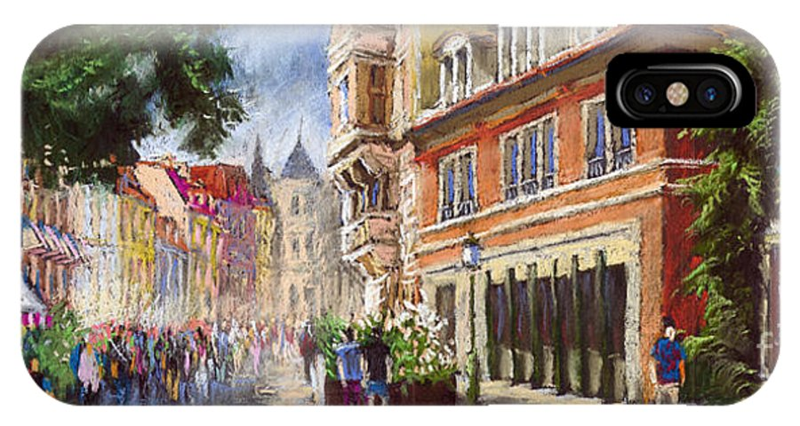 Pastel IPhone X Case featuring the painting Germany Baden-baden Lange Str by Yuriy Shevchuk