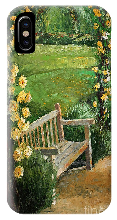 Oil IPhone X Case featuring the painting Germany Baden-baden Rosengarten by Yuriy Shevchuk