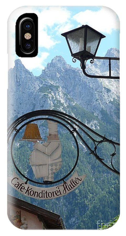 Bavarian Alps IPhone X Case featuring the photograph Germany - Cafe Sign by Carol Groenen
