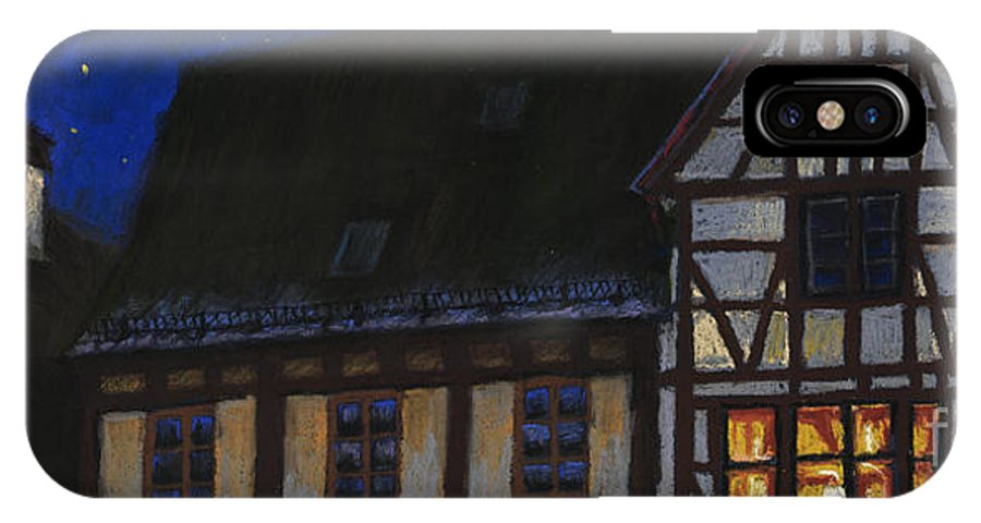 Pastel IPhone X Case featuring the painting Germany Ulm Fischer Viertel MoonRoofs by Yuriy Shevchuk