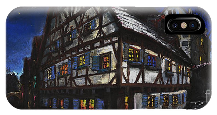Pastel IPhone X Case featuring the painting Germany Ulm Fischer Viertel Schwor-haus by Yuriy Shevchuk
