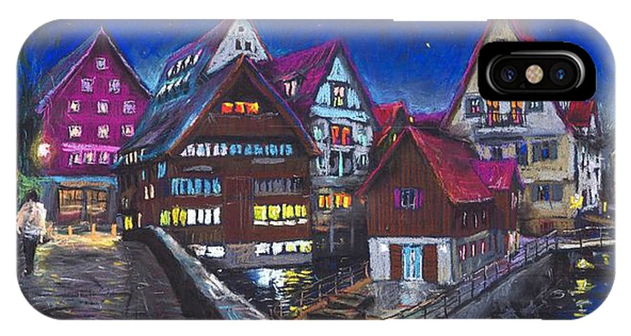 Pastel IPhone X Case featuring the painting Germany Ulm Fischer Viertel by Yuriy Shevchuk