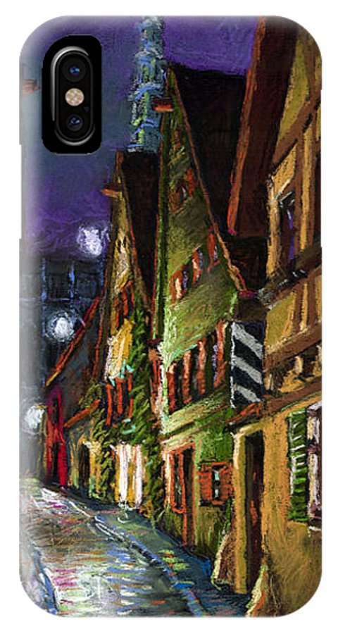 Pastel IPhone Case featuring the painting Germany Ulm Old Street Night Moon by Yuriy Shevchuk