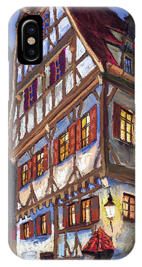 Pastel IPhone X Case featuring the painting Germany Ulm Old Street by Yuriy Shevchuk
