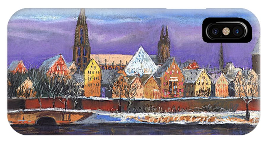 Pastel IPhone X Case featuring the painting Germany Ulm Panorama Winter by Yuriy Shevchuk