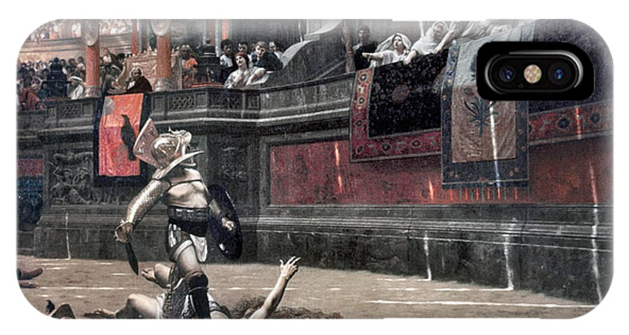 Ancient IPhone X Case featuring the photograph Gerome: Gladiators, 1874 by Granger