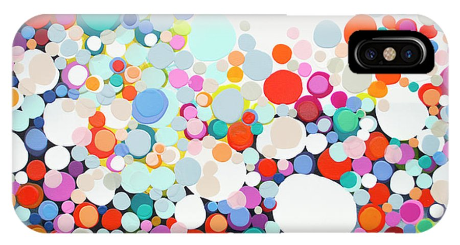 Abstract IPhone X Case featuring the painting Get Home Late by Claire Desjardins
