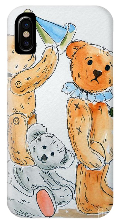 Teddy IPhone X Case featuring the painting Get Ready Teddy by Rita Drolet