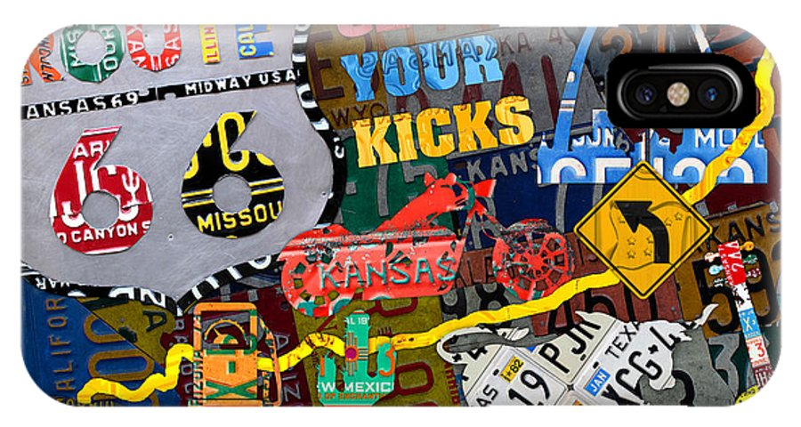 Get Your Kicks On Route 66 Icons Along The Highway Recycled Vintage License  Plate Art IPhone X Case