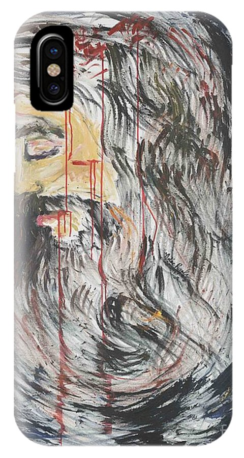 Jesus IPhone X Case featuring the painting Gethsemane To Golgotha IIi by Nadine Rippelmeyer