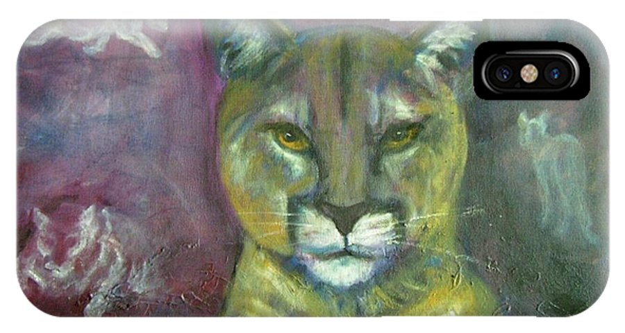 Wildlife IPhone X Case featuring the painting Ghost Cat by Darla Joy Johnson