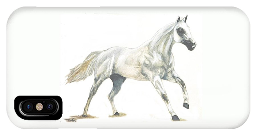 White Horse IPhone X / XS Case featuring the painting Ghost Horse by Debra Sandstrom