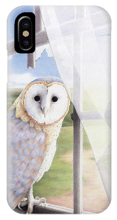 Owl IPhone X Case featuring the drawing Ghost In The Attic by Amy S Turner
