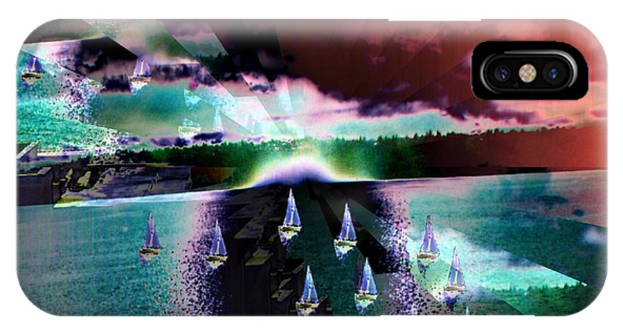 Seattle IPhone X Case featuring the digital art Ghost Regatta by Tim Allen
