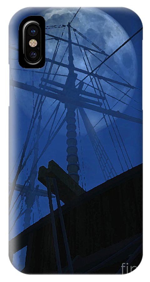 Ghost Ship IPhone X Case featuring the digital art Ghost Ship by Richard Rizzo