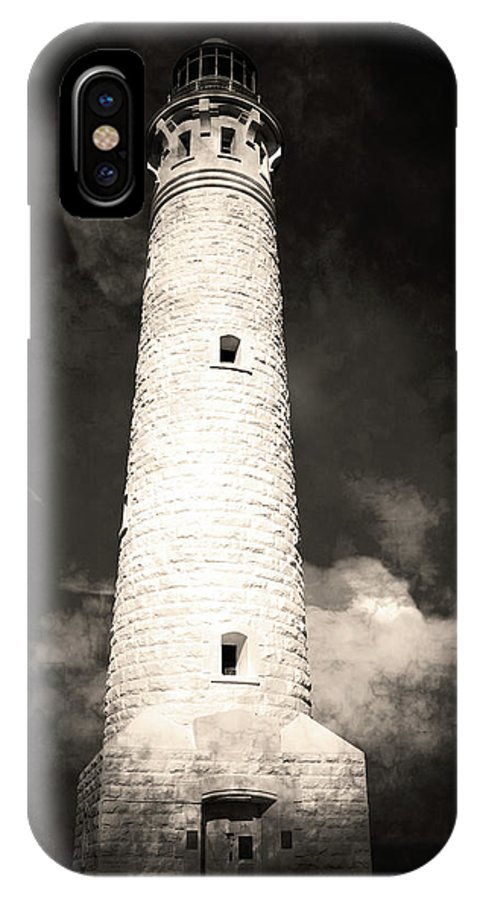 Light IPhone X Case featuring the photograph Ghostly Lighthouse by Phill Petrovic