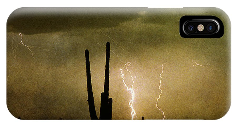 Lightning IPhone X Case featuring the photograph Giant Saguaro Southwest Lightning Peace Out by James BO Insogna