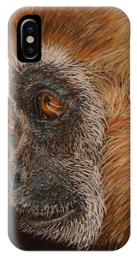 Animals IPhone X Case featuring the drawing Gibbon by Karen Ilari