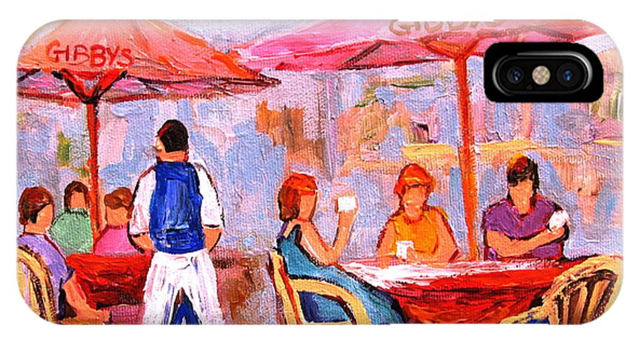Gibbys Restaurant Montreal Street Scenes IPhone X / XS Case featuring the painting Gibbys Cafe by Carole Spandau