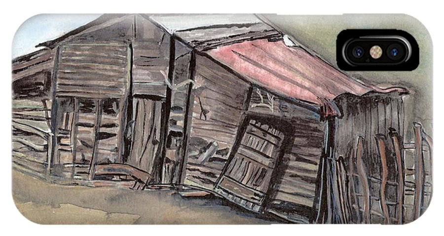 Barn IPhone X Case featuring the painting Gila New Mexico Cattle Barn by Margaret Fortunato