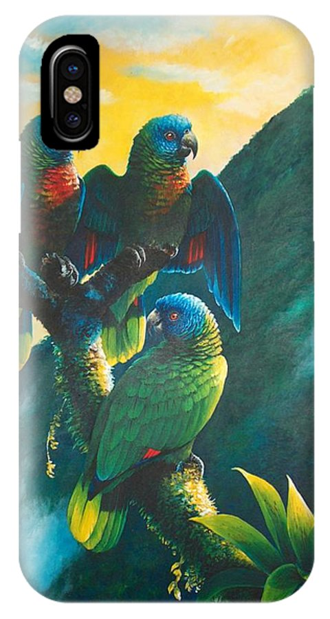 Chris Cox IPhone X Case featuring the painting Gimie Dawn 1 - St. Lucia Parrots by Christopher Cox