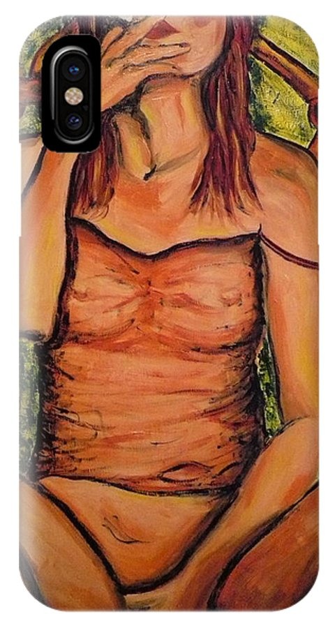 Woman IPhone X Case featuring the painting Gina The Smoking Woman by Ericka Herazo