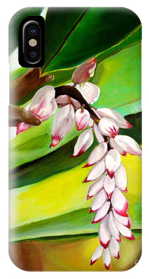 Ginger Blooms IPhone X Case featuring the painting Ginger Bloom-2015 by Novely Fleck